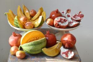 Wobbe Micha Vruchten (meloenen, granaat appels en abrikozen): geglazuurd porselein, keramiek, variable dimensies, 2017