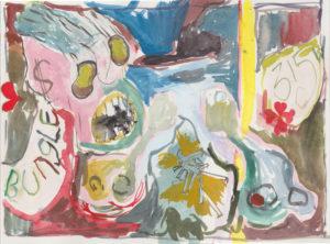 Gino Saccone watercolour on paper, 23 x 31 cm Bungle chipa in pits, 2017