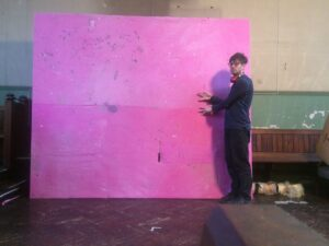 Gino Saccone in front in the process of making his Olfactory band,  dyed fabric, 285 x 240