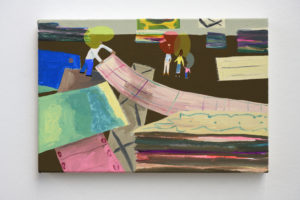 Peter McDonald, Choosing Carpets Study, 2009  acrylic gouache on canvas, 21 x 31 cm
