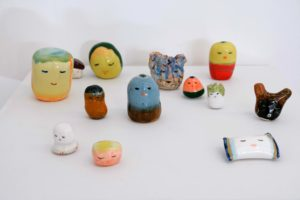 Kenichi Ogawa Untitled ceramics (friends, pillows, sleeping cars etc, 2019