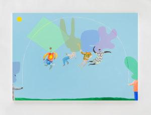 Peter McDonald, Skipping, 2019, acrylic gouache on canvas, 140 x 200 cm