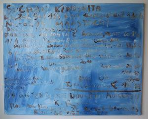 Kurt Ryslavy Facture décorative mono 120 – le monochrome  avec son arrièreplan économique,  (MONO120, Suchan Kinoshita), 2015 (Brüssel) Öl auf Leinwand, Scharniere 80 x 100 cm
