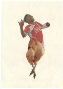 Kasper De Vos Brood en spelen glued paper clippings 2016, 42 x 29,7 cm