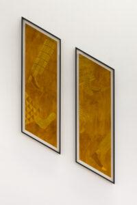 "Dorota Jurkzac 1. ""ulica |"" 26,1/ 103cm Vinyl paint, ink, 2020 2. ""ulica ||"" 26,1/ 103cm"