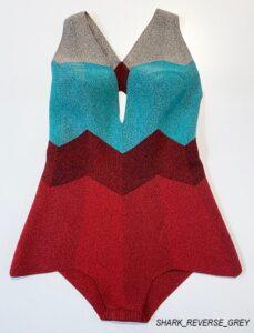 pelican avenue, fine knit body suit, SHARK REVERSE_RED, 2020.