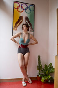 pelican avenue, fine knit body suit, SHARK REVERSE, 2020. artist Lucy McKenzie and shot by Mauricio Guillen