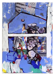 Sarah Szczesny, Titter Wall, 2020. Vinylfarbe und Laserprint auf Leinwand,100 x 70 cm